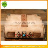 Folk leather cover notebook souvenir blank pages metal corners embossing pattern button closure ethnic decoration