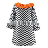 2016 Kaiyo Halloween kid clothes black white chevron ruffle dress OEM service girls boutique dress