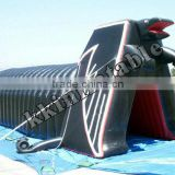 interesting black train tunnel inflatable with sports tent, high quality inflatable black tunnel with sport tent for sale