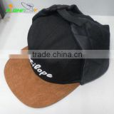 High quality Brand OEM service custom make 3D puff embroidery logo 5 panel camp skull cap with ear flap