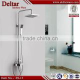 Stainless Steel Electronic Shower LED Shower, Brass Waterproof Led Shower Set, 8 Inch Square Shower Head