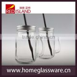 450ml 480ml 600ml700ml Clear glass mason jars/wholesale 16oz glass mason jars with straw lid