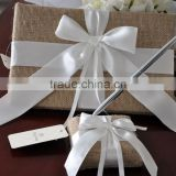 2015 HOT sale burlap fabric Bridal signature Guest Book with pen set/Wedding Pen stand with pen decoration with white satin bow