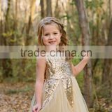 Ivory Gold Sequined Glitter Tulle Princess Girl Toddler Baby Dress 1st Birthday outfit Flower Girl Dress Holiday sets
