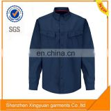 Mens workwear button-front navy blue 4.5oz nomex long sleeve safety work shirt