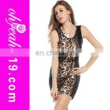 2014New fashion no sleeve in stock cheap paypal accept print custom made party bodycon fashion dress