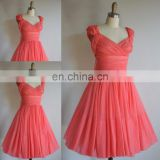 Real photo!Cute a line v neck cap sleeve pleats chiffon coral bridesmaid dress brides maid dress JBD035