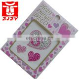Heart pink rhinestone stickers