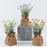 Mini Plastic Artificial Flowers Potted Plant Bonsai Sack Cloth For Home Decorative 3 Colors