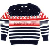 OEM design Stripes latest sweater designs for Children Knitted turtleneck fleece pullover