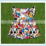 yiwu Fancy newest flutter sleeve summer kids clothes baby girl mouse head patterns party dress Children frocks designs