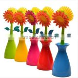 Multipurpose Flower Dish Scrub Cleaning Brush with Holder