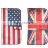 Hot Selling retro US UK Flag PU leather flip cover for Samsung Galaxy mini S3 I8190 case with card pouch