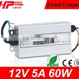 Guangzhou manufacturer high efficiency rainproof series constant voltage single output 60w power supply 12 volt 5 amps