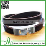 Genuine PU leather stainless steel Magnetic Clasp bracelets for Birthday gift