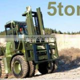 5 Ton Rough Terrain Forklift truck,all-terrain forklift with CE,hydraulic steering system,4wd