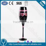 High quality attractive champagne glass with decoration in gift box wholesale