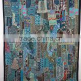 Indian Recycle Sari Patchwork curtains panel WallHanging , Handmade Patchwork Wall Decor Art curtains