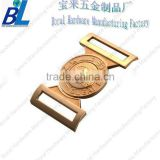 Polished belt buckle parts with gold plating