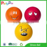 Partypro Zhejiang Factory Hottest Soft Ball Custom logo PU material Stress Round Ball with Smile