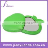 Popular apple shaped pocket leather mirror for girls