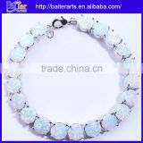 Elegant Women's Jewelry White Fire Opal Gemstone Bracelet Wholesale