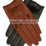 Top Quality 100% Genuine Cowhide Analine Leather Mens Driving Gloves with Button Closure, Brown Leather Driving Gloves