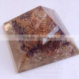 Amethyst-Crystal Orgone Pyramid With Crystal Point | Orgonite-Orgone Energy Pyramid | Indian Healing Stones