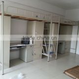 Ningbo CE double decker metal bed with desk and storage