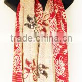 Jaipur Ethnic Designer Printed Silk Fabric Reversible Lady Scarves Cotton Kantha Girl's Shawls