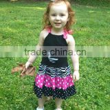 Baby flutter dress toddler minnie head appliqued dress summer sundress