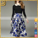 Garment factory 2016 long sleeve print plaid new fashion lady dress                                                                         Quality Choice