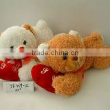 "20"" customized beautiful valentine soft plush 2-colour sleeping bear animal toy with silk bowtie&embroidered heart pillow"