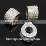 SJ3132 925 silver sterling silver pave beads for sale, tube metal bead finding 2014