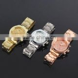 stainless steel back geneva quartz watches mens gold watches
