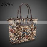 Wholesale bear canvas printed tote bag handbags with leather strap