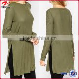Tunic Top With Side Split And Long Sleeves chinese clothing manufacturers                                                                         Quality Choice