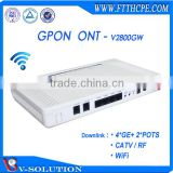 4GE+2VOICE+WiFi+CATV GPON ONU/ONT Wireless Router WiFi Modem VoIP Home Gateway CATV Receiver Triple Play Service Made in China