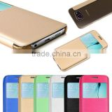 New products on china market Caller ID Display Window Leather flip case for samsung galaxy s6 made in china