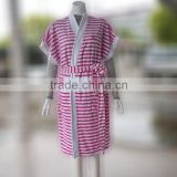 Short sleeve women stripe fancy cotton yarn dyed terry bathrobe