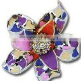QMR037 enamel ring design for women,18 ct gold flower shaped heart shaped colorful enamel ring with CZ