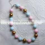 New bulk bubblegum beads chunky necklace for little girls,jewelry bubblegum necklace,cartoon pendant kids chunky necklace