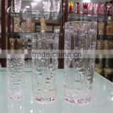 Machine Made Gathering Rose Glass Vase Transparent,Heavy Glass Bud Surface Vases With Double Heart Pattern,Tall Glass Vases