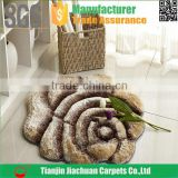 3d 300D silk shaggy flower shaped rug