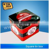 Customized designed square tin box with pvc window for packaging,storage,display