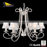 SD0859-6 Mondern Chandelier With Glass Lamp Shape/Simple Style Light With Square Tube Arm/White Crack Painting Color Lamp