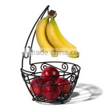 Chrome Fruit Bowl Grapes Banana Hook Apple Basket Countertop Decorative Kitchen