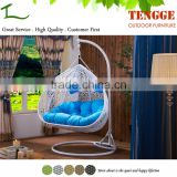 Water drop shape white synthetic rattan outdoor lover seat swing chair