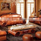 Noble Southeast Asian Style Genuine Leather Sofa Set,Leisure Living Room Stool & Chaise Lounge & Marble Top Coffee Table