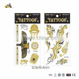 2015 New Fashion Golden body metallic foil tattoo sticker jewelry temporary tattoo sticker